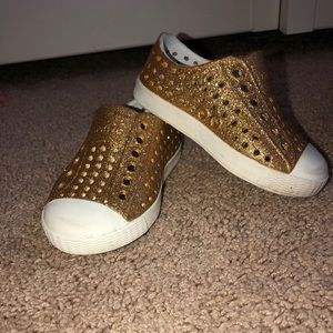 Native Shoes Gold Glitter Slip Ons